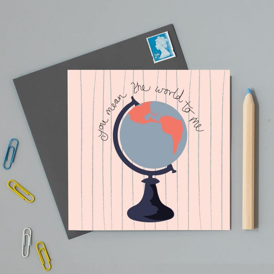 Greetings Card Luxury Designer Personalised Message Sustainable Environmentally Friendly FSC Paper Plastic Free - you mean the world to me