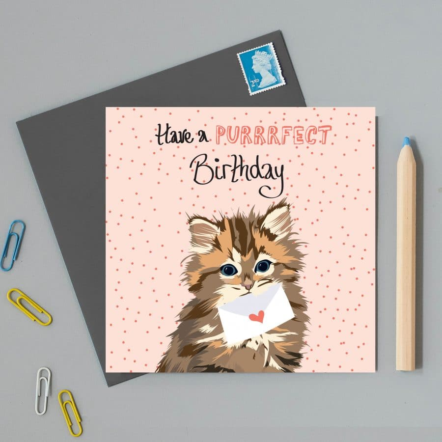 Greetings Card Luxury Designer Personalised Message Sustainable Environmentally Friendly FSC Paper Plastic Free - have a puuuurfect birthday card