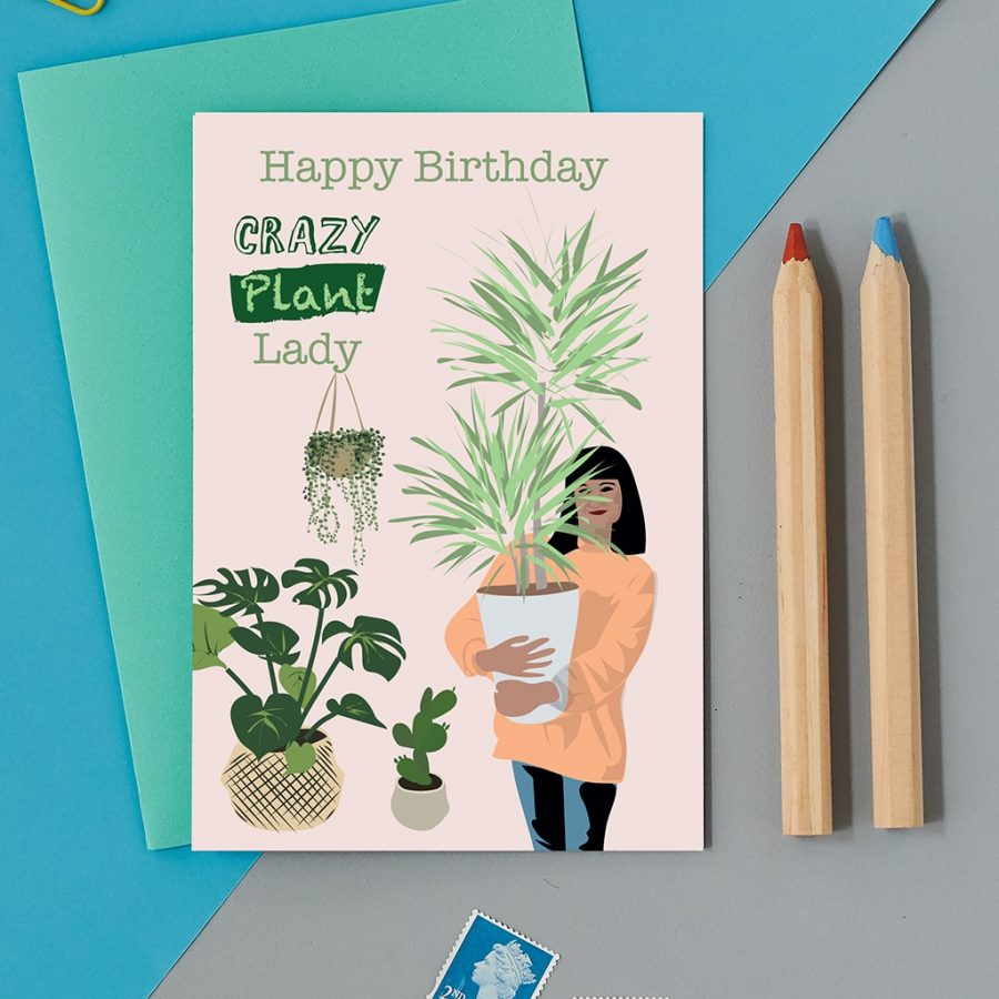 Greetings Card Luxury Designer Personalised Message Sustainable Environmentally Friendly FSC Paper Plastic Free - crazy plant lady