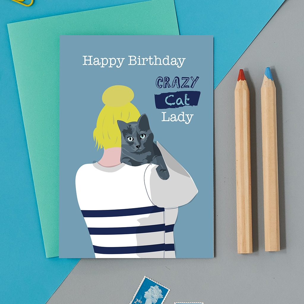 Greetings Card Luxury Designer Personalised Message Sustainable Environmentally Friendly FSC Paper Plastic Free - Crazy Cat Lady