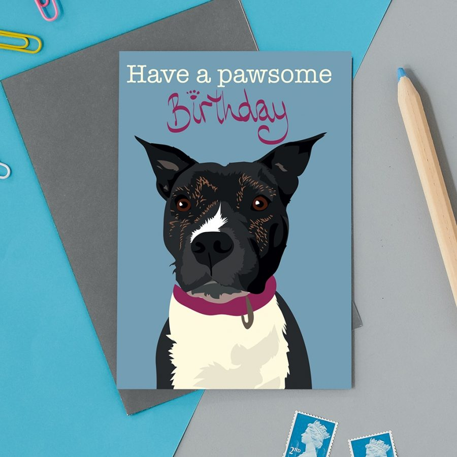 Greetings Card Luxury Designer Personalised Message Sustainable Environmentally Friendly FSC Paper Plastic Free - staffy dog