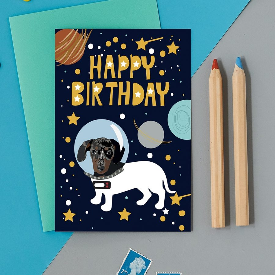 Greetings Card Luxury Designer Personalised Message Sustainable Environmentally Friendly FSC Paper Plastic Free - space sausage dog