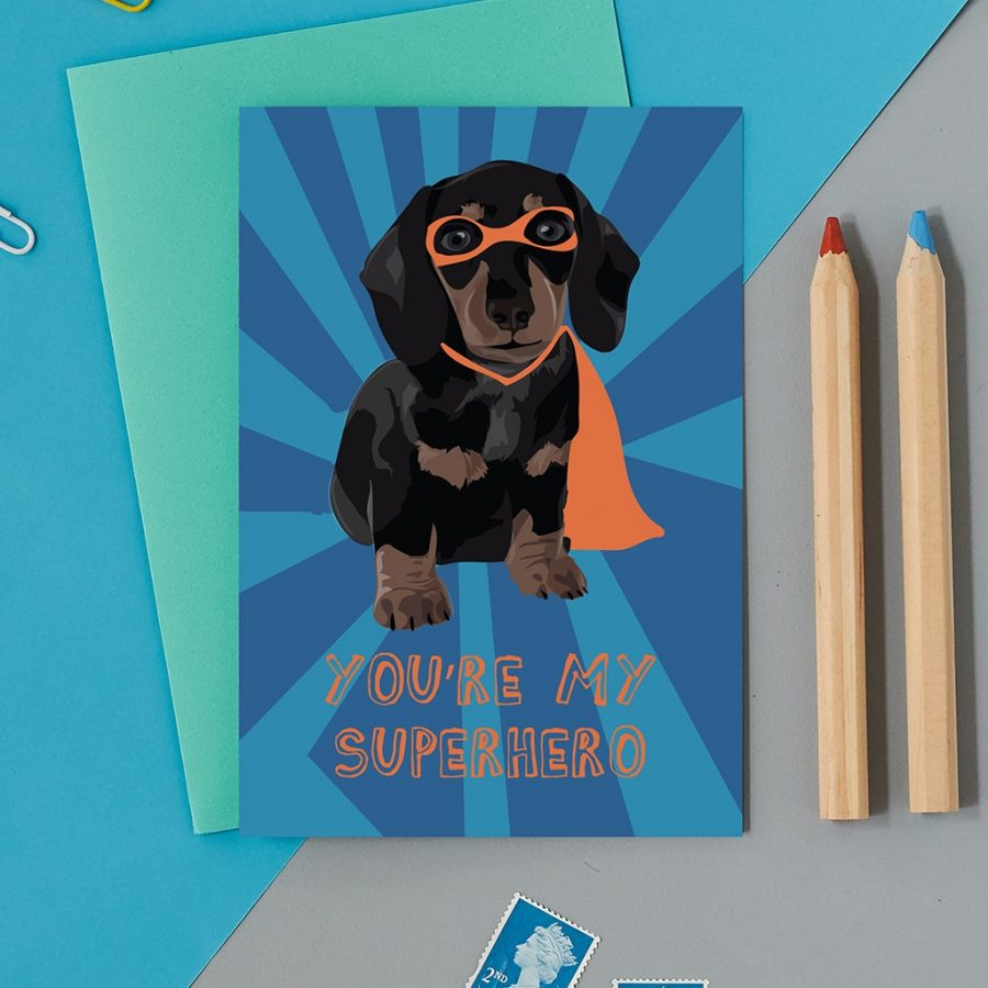 Greetings Card Luxury Designer Personalised Message Sustainable Environmentally Friendly FSC Paper Plastic Free - superhero sausage dog birthday