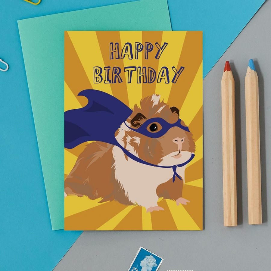 Greetings Card Luxury Designer Personalised Message Sustainable Environmentally Friendly FSC Paper Plastic Free - superhero guinea pig, birthday, happy birthday
