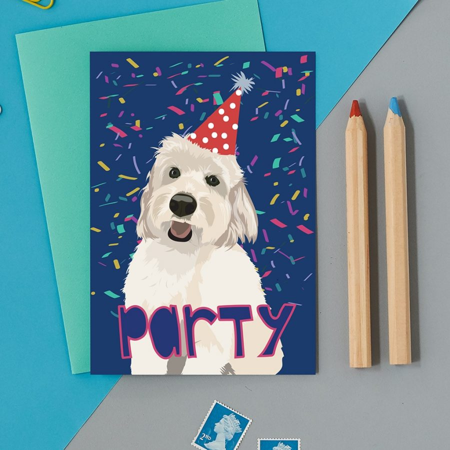 Greetings Card Luxury Designer Personalised Message Sustainable Environmentally Friendly FSC Paper Plastic Free - party dog cockapoo