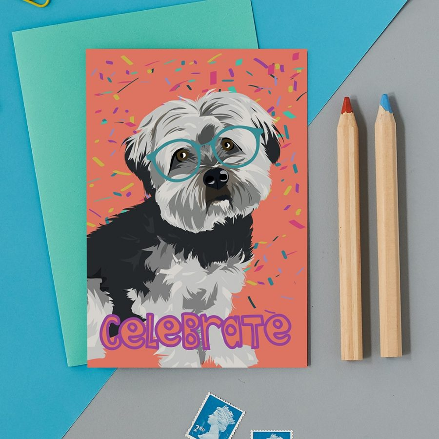 Greetings Card Luxury Designer Personalised Message Sustainable Environmentally Friendly FSC Paper Plastic Free - celebrate dog card
