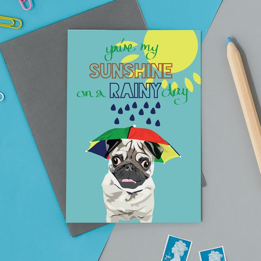 Greetings Card Luxury Designer Personalised Message Sustainable Environmentally Friendly FSC Paper Plastic Free -sunshine pug