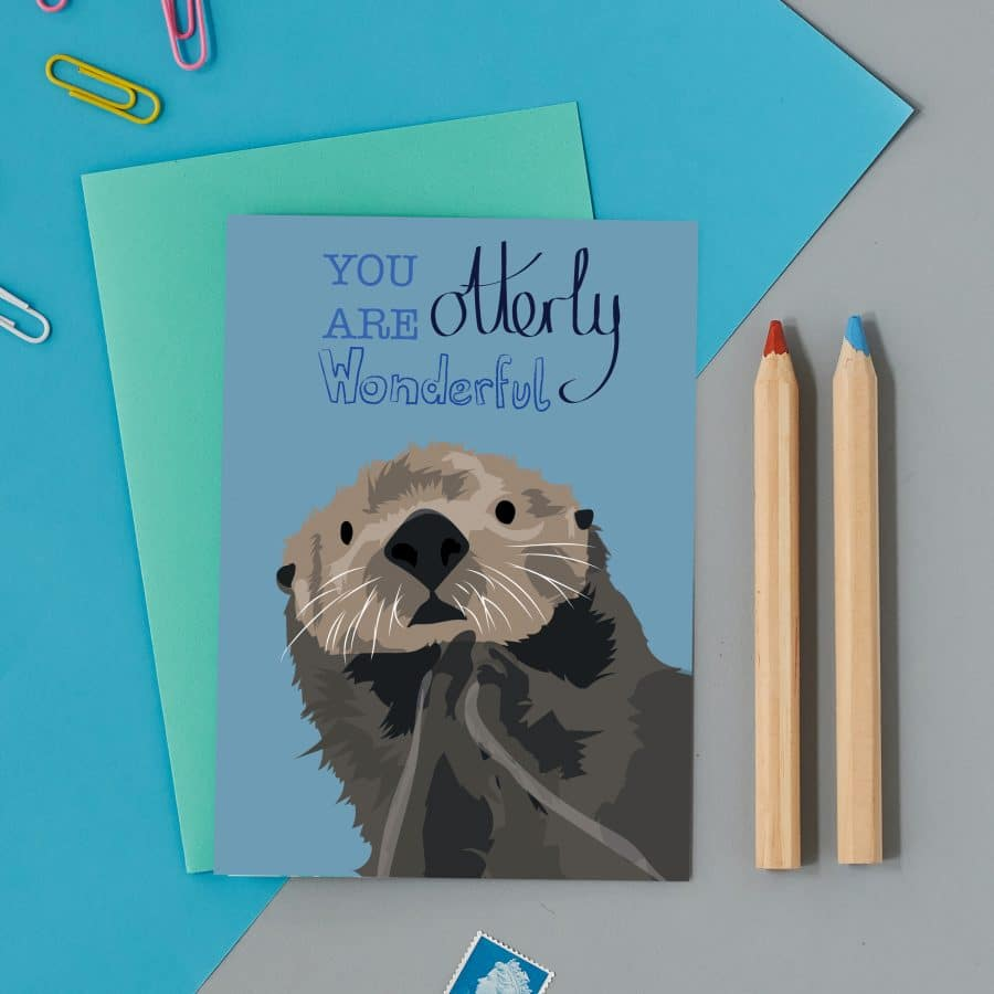 Greetings Card Luxury Designer Personalised Message Sustainable Environmentally Friendly FSC Paper Plastic Free -otter