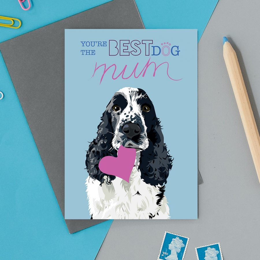 Greetings Card Luxury Designer Personalised Message Sustainable Environmentally Friendly FSC Paper Plastic Free - spaniel heart