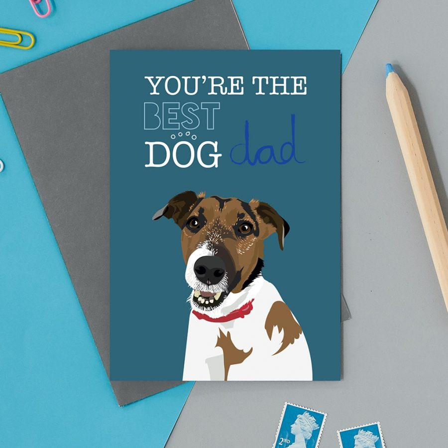 Greetings Card Luxury Designer Personalised Message Sustainable Environmentally Friendly FSC Paper Plastic Free - best dog dad
