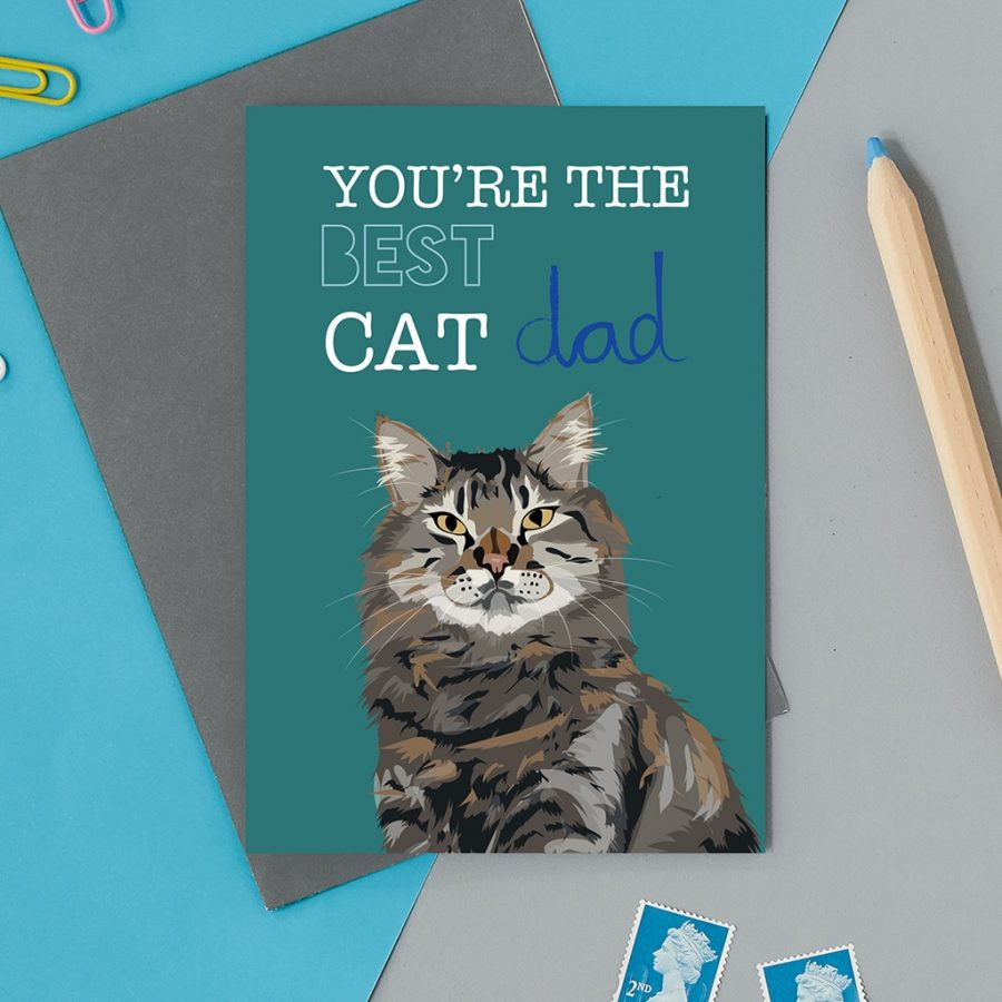 Greetings Card Luxury Designer Personalised Message Sustainable Environmentally Friendly FSC Paper Plastic Free - cat dad