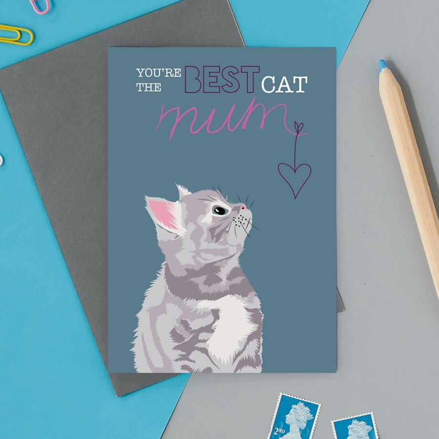 Greetings Card Luxury Designer Personalised Message Sustainable Environmentally Friendly FSC Paper Plastic Free - cat mum