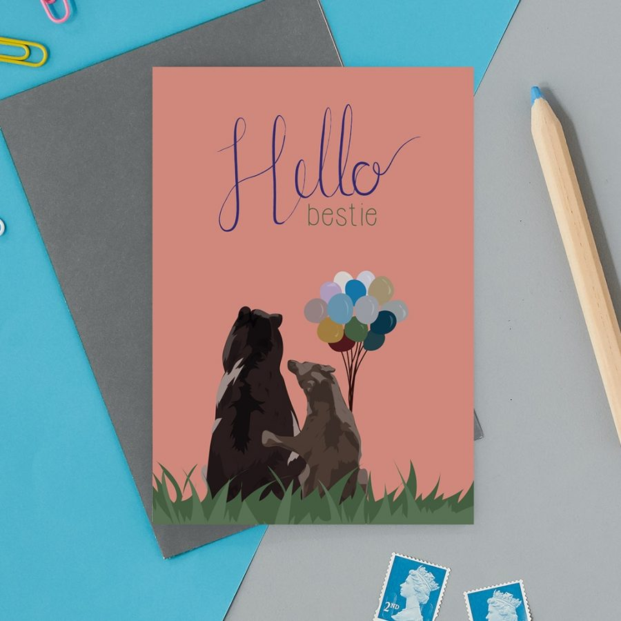 Greetings Card Luxury Designer Personalised Message Sustainable Environmentally Friendly FSC Paper Plastic Free - hello bestie