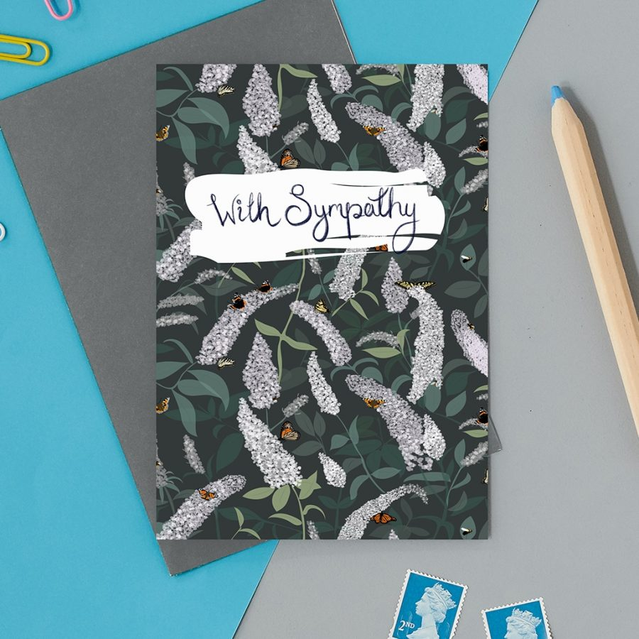Greetings Card Luxury Designer Personalised Message Sustainable Environmentally Friendly FSC Paper Plastic Free - with sympathy