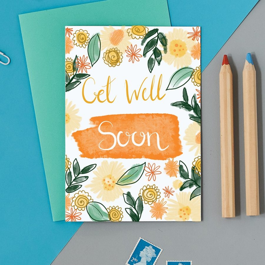 Greetings Card Luxury Designer Personalised Message Sustainable Environmentally Friendly FSC Paper Plastic Free - get well soon