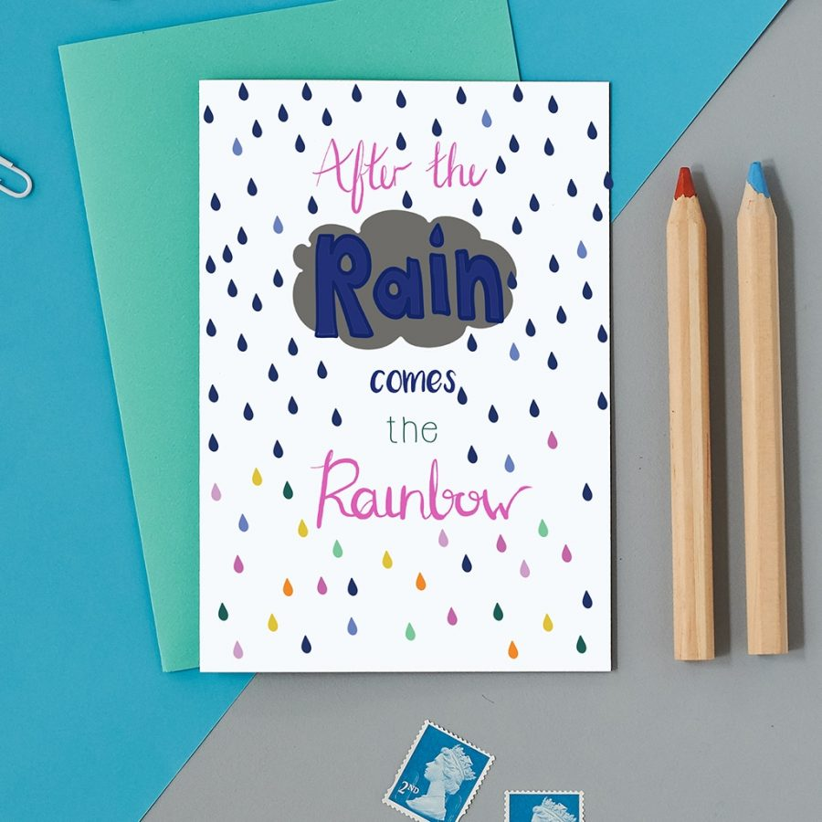 Greetings Card Luxury Designer Personalised Message Sustainable Environmentally Friendly FSC Paper Plastic Free - after the rain comes the rainbow