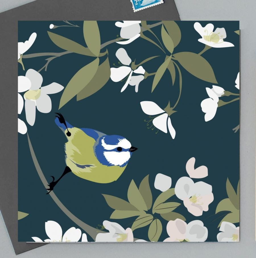 Greetings Card Luxury Designer Personalised Message Sustainable Environmentally Friendly FSC Paper Plastic Free - blue tit
