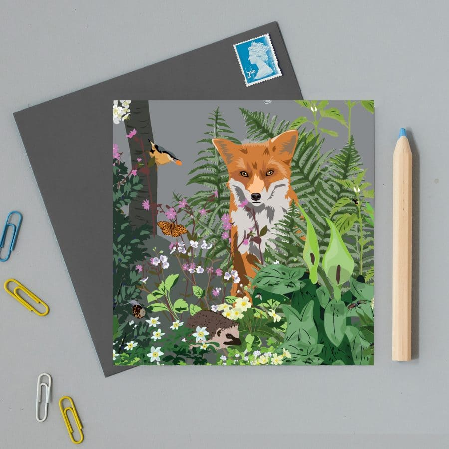Greetings Card Luxury Designer Personalised Message Sustainable Environmentally Friendly FSC Paper Plastic Free - Watlington Fox Card