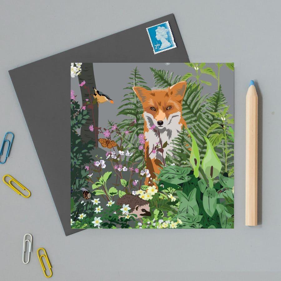 Greetings Card Luxury Designer Personalised Message Sustainable Environmentally Friendly FSC Paper Plastic Free - Watlington Fox Card