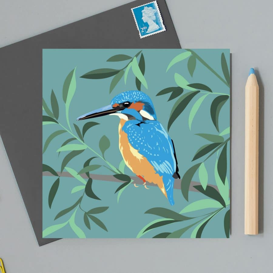 Greetings Card Luxury Designer Personalised Message Sustainable Environmentally Friendly FSC Paper Plastic Free RSPB bird kingfisher