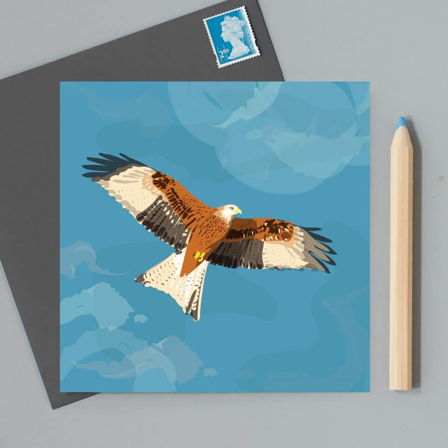 Greetings Card Luxury Designer Personalised Message Sustainable Environmentally Friendly FSC Paper Plastic Free RSPB bird - red kite