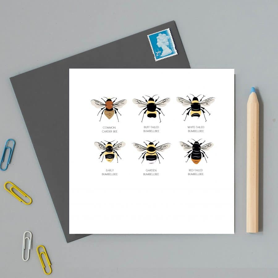 Greetings Card Luxury Designer Personalised Message Sustainable Environmentally Friendly FSC Paper Plastic Free - british bees