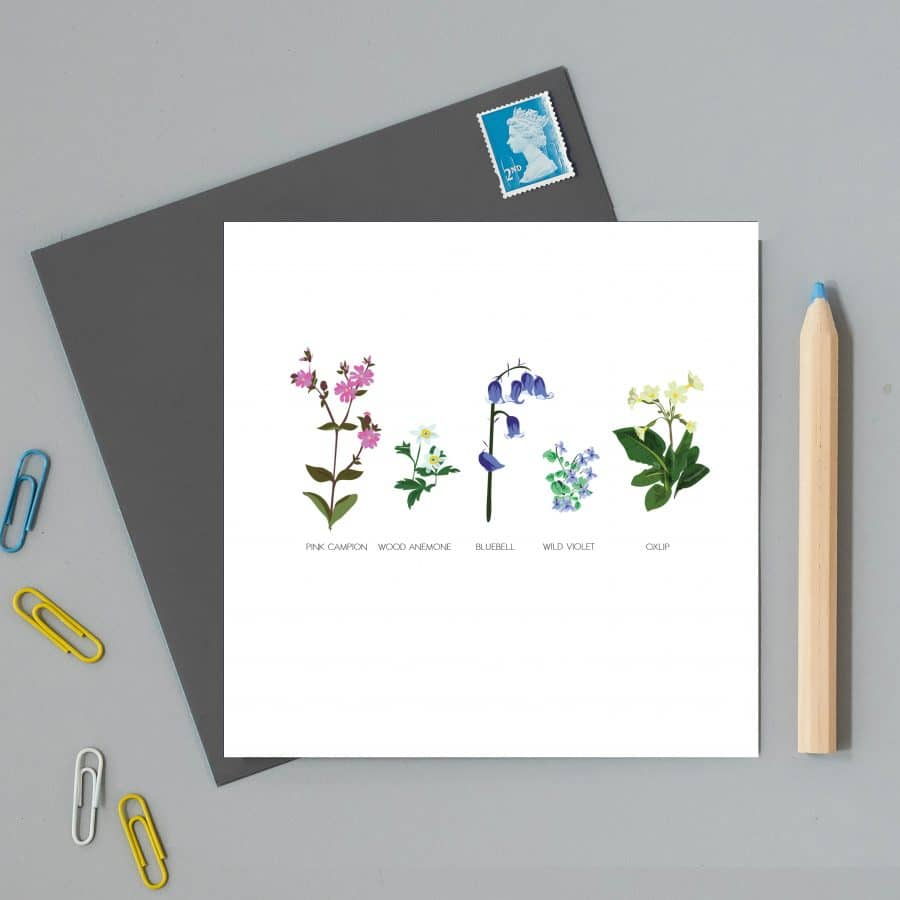 Greetings Card Luxury Designer Personalised Message Sustainable Environmentally Friendly FSC Paper Plastic Free - wildflower greeting card