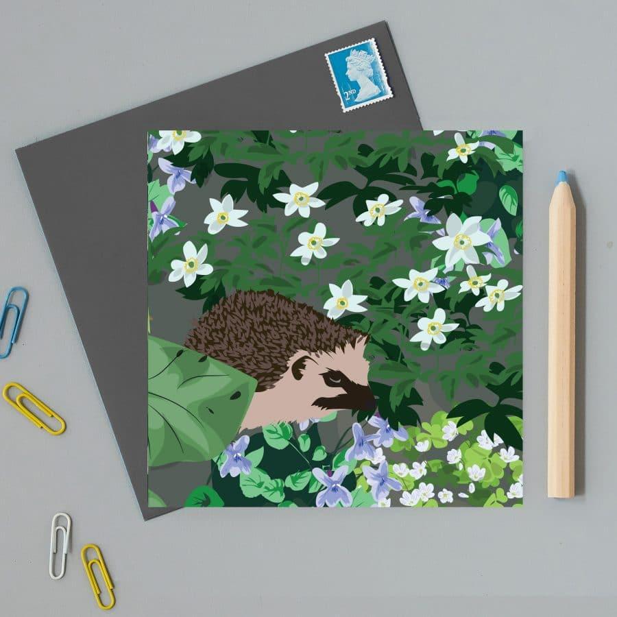 Greetings Card Luxury Designer Personalised Message Sustainable Environmentally Friendly FSC Paper Plastic Free - Watlington Hedgehog Card
