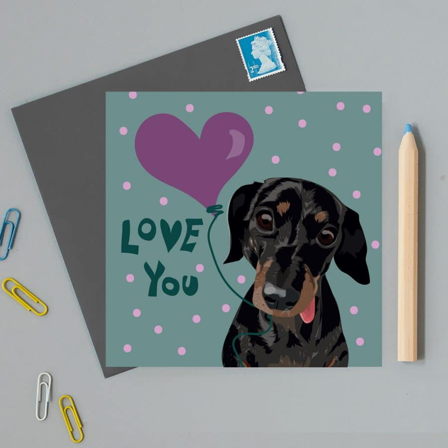 valentines card sausage dog slinky love you greeting card eco friendly card sustainable card