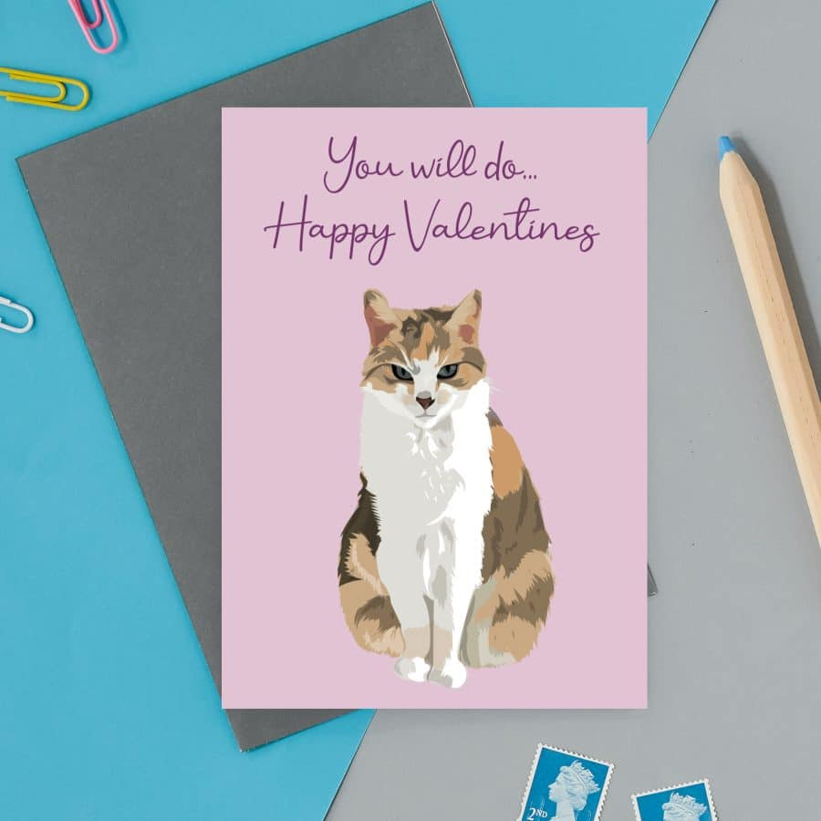 love valentines greeting card cat card eco friendly, plastic free, valentines card, printed in the UK, lorna syson, british designer, british card designer cat you will do