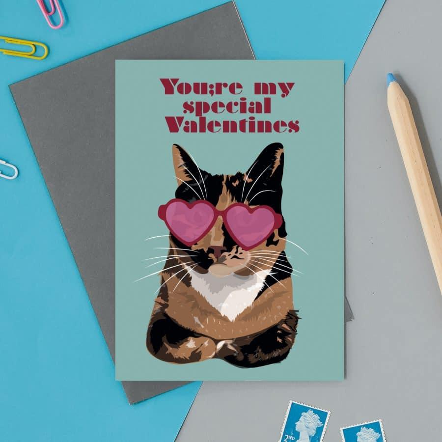 love valentines greeting card cat card eco friendly, plastic free, valentines card, printed in the UK, lorna syson, british designer, british card designer special valentines