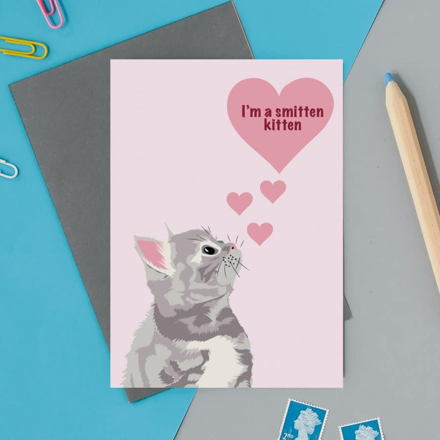 love valentines greeting card cat card eco friendly, plastic free, valentines card, printed in the UK, lorna syson, british designer, british card designer im a smitten kitten