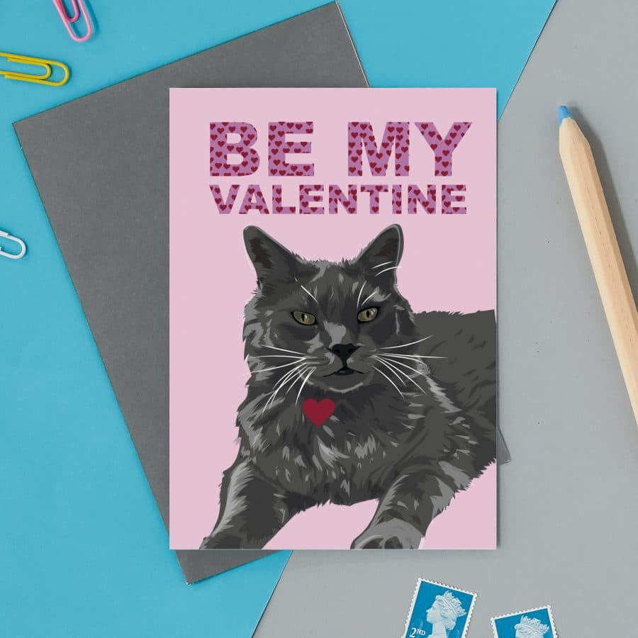 love valentines greeting card cat card eco friendly, plastic free, valentines card, printed in the UK, lorna syson, british designer, british card designer be my valentines cat card