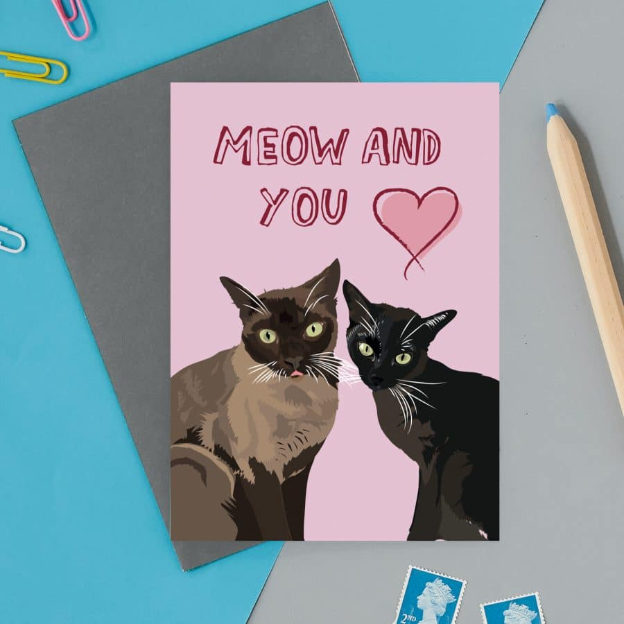 love valentines greeting card cat card eco friendly, plastic free, valentines card, printed in the UK, lorna syson, british designer, british card designer Meow and you valentines card
