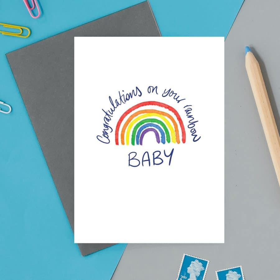 british card designer, illustration, designer card, british card, printed in the UK, positive messaging, IVF, trying to conceive, miscarriage, infertility Congratulations on your rainbow baby