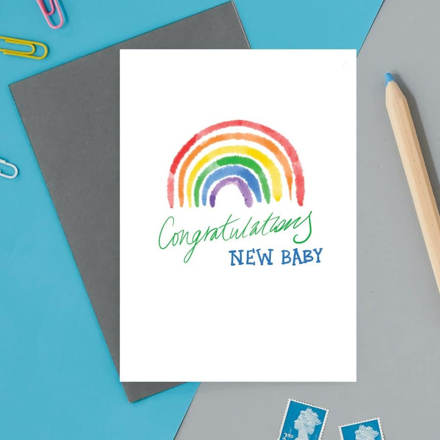 british card designer, illustration, designer card, british card, printed in the UK, positive messaging, IVF, trying to conceive, miscarriage, infertility Congratulations new baby card