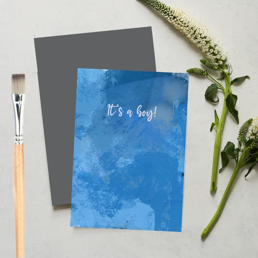 Greetings Card Luxury Designer Personalised Message Sustainable Environmentally Friendly FSC Paper Plastic Free love positive messaging - It's A Boy
