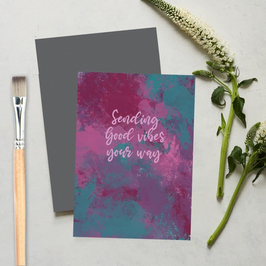 Greetings Card Luxury Designer Personalised Message Sustainable Environmentally Friendly FSC Paper Plastic Free love positive messaging - sending good vibes your way card