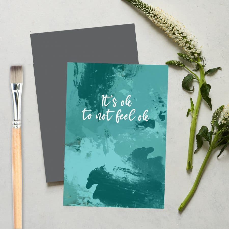 Greetings Card Luxury Designer Personalised Message Sustainable Environmentally Friendly FSC Paper Plastic Free love positive messaging - it's ok to not feel ok