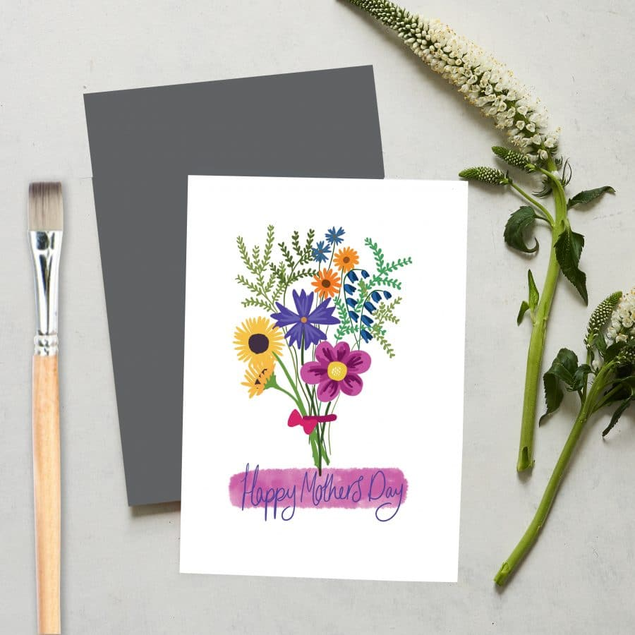 Greetings Card Luxury Designer Personalised Message Sustainable Environmentally Friendly FSC Paper Plastic Free love positive messaging - happy mother's day flowers