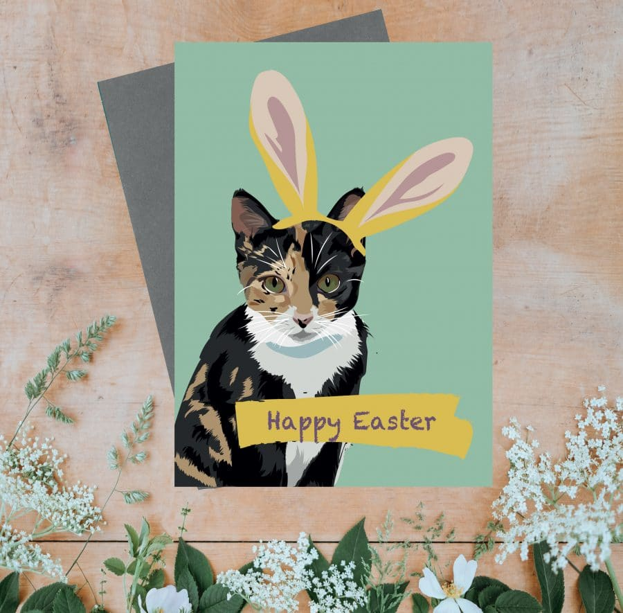 Happy Easter greeting card with tabby cat wearing bunny rabbit ears, greeting card, designer greeting card, plastic free, FSC, recycled card