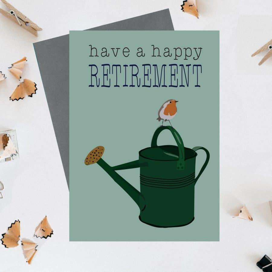 Greetings Card Luxury Designer Personalised Message Sustainable Environmentally Friendly FSC Paper Plastic Free - Happy retirement