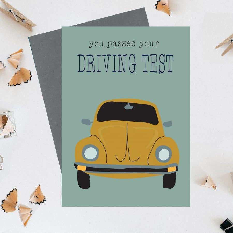 Greetings Card Luxury Designer Personalised Message Sustainable Environmentally Friendly FSC Paper Plastic Free - you passed your driving test