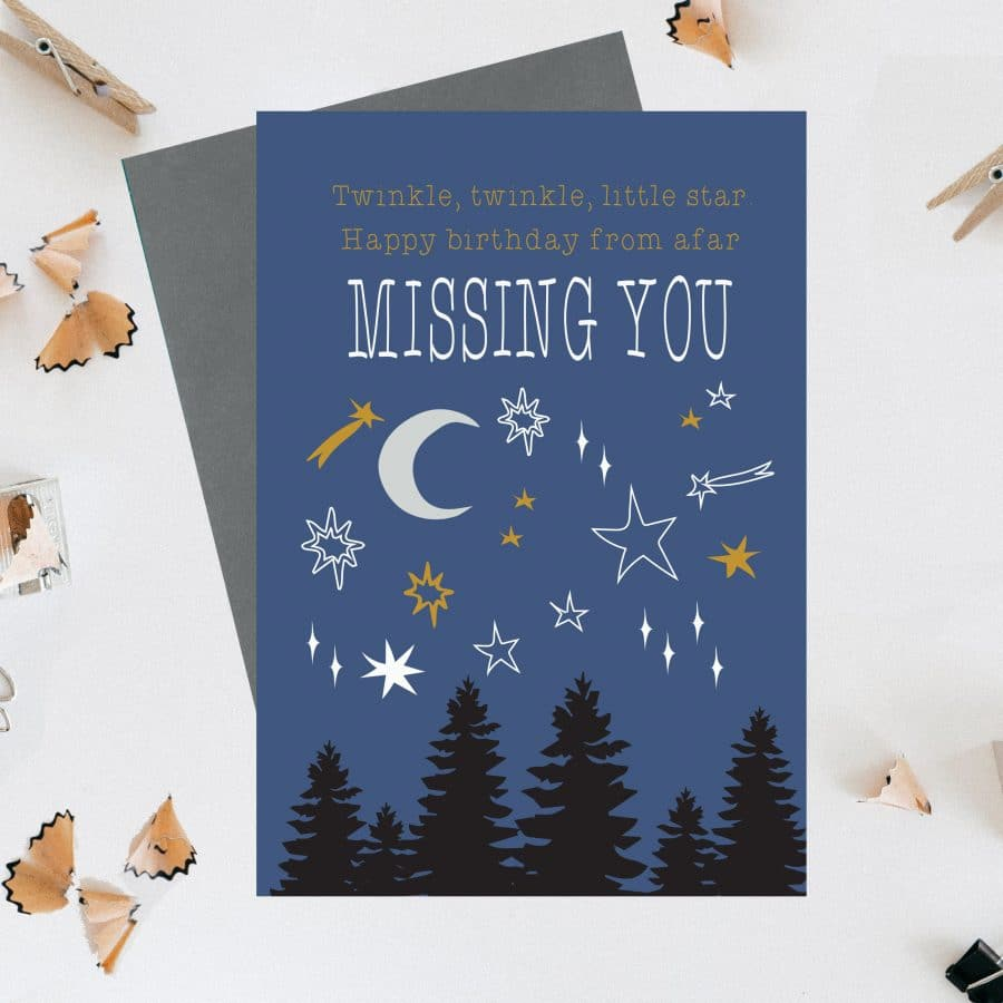 Greetings Card Luxury Designer Personalised Message Sustainable Environmentally Friendly FSC Paper Plastic Free - Twinkle, twinkle, little star, Happy Birthday from afar, missing you