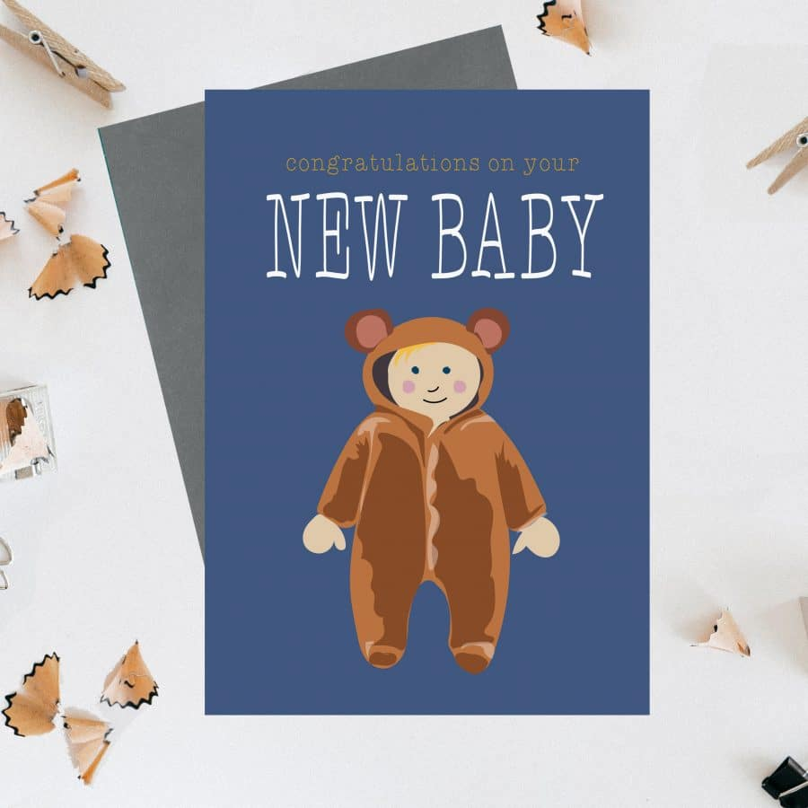Greetings Card Luxury Designer Personalised Message Sustainable Environmentally Friendly FSC Paper Plastic Free - Congratulations on your new baby