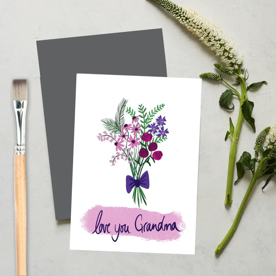 Greetings Card Luxury Designer Personalised Message Sustainable Environmentally Friendly FSC Paper Plastic Free - I love you grandma