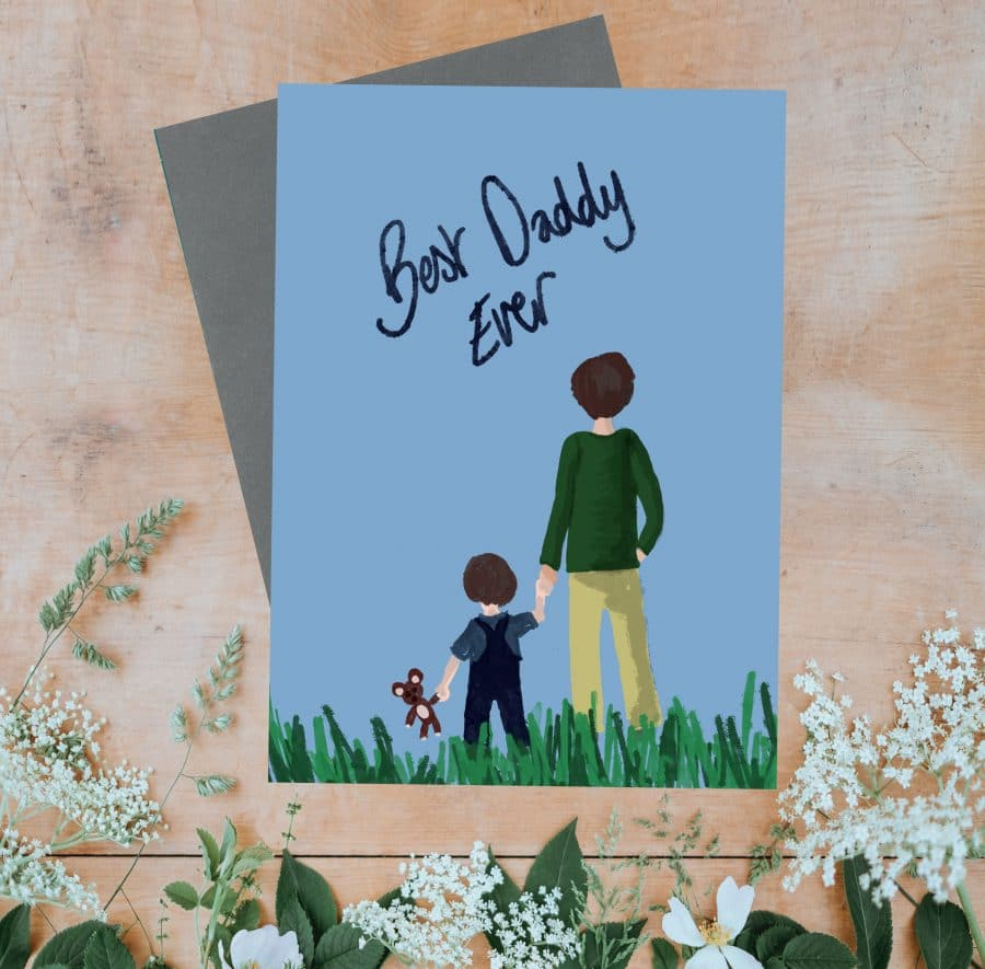 Greetings Card Luxury Designer Personalised Message Sustainable Environmentally Friendly FSC Paper Plastic Free - Best Daddy Ever