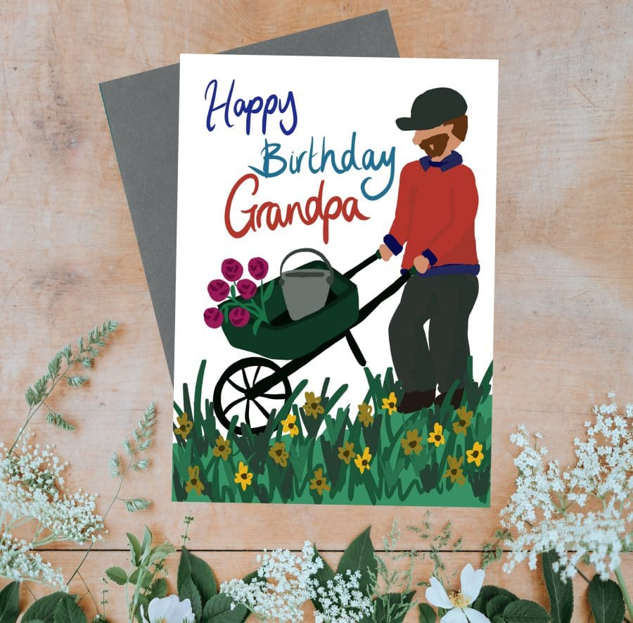 Greetings Card Luxury Designer Personalised Message Sustainable Environmentally Friendly FSC Paper Plastic Free - Happy Birthday Grandpa