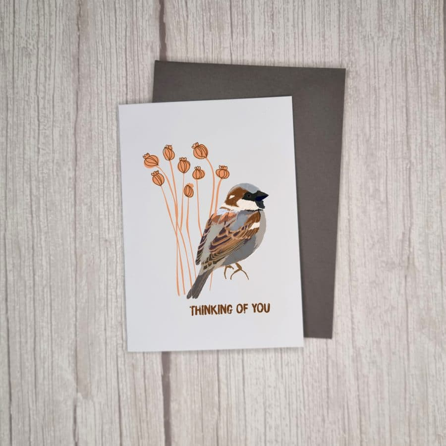 Illustrated Thinking of You Card with Sparrow