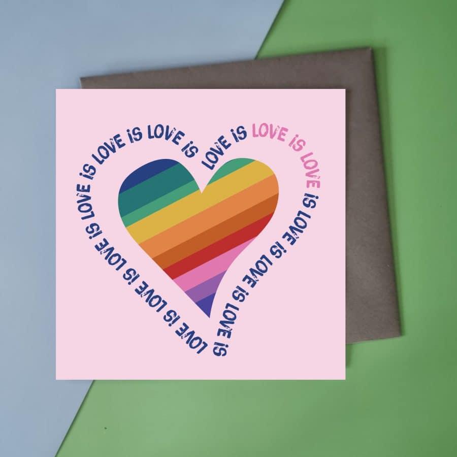 love is love card with rainbow heart